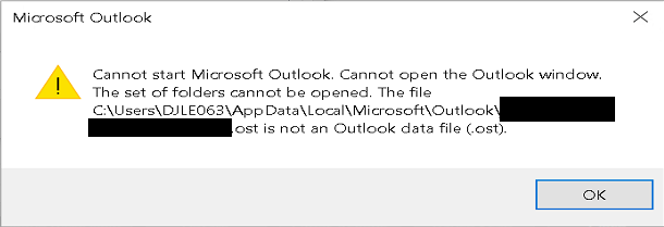 Outlook 2016 client fails to start - OST cannot be opened