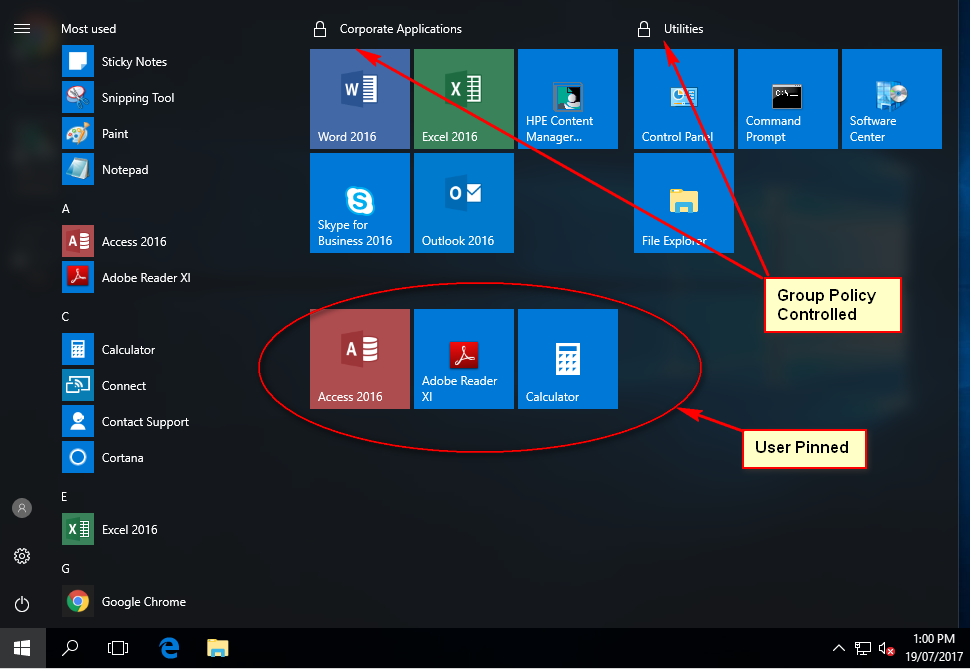 Problem with Windows 10 1703 start menu using group policy