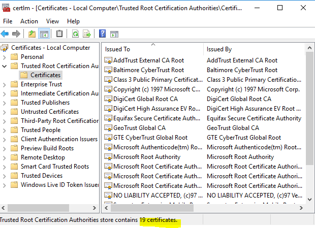 Updating Trusted Root Certificates for New Win 10 Gold Image