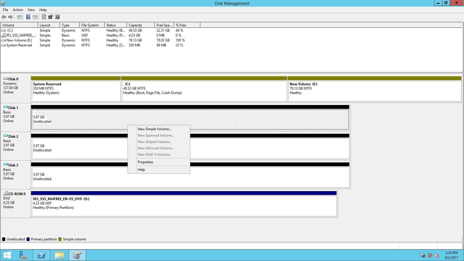 Hyper-v Windows Server 2012 r2 Only simple volume is availble, rest