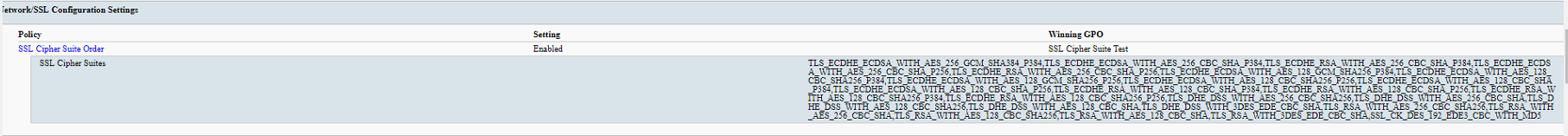 SSL Cipher Suite Order GPO not taking affect