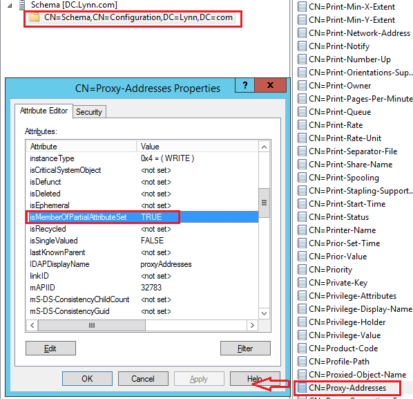 Unable to see the proxyaddress attribute in ADUC for a newly