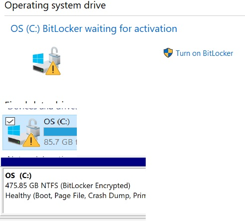 Bitlocker is off but C drive shows Bitlocker encrypted