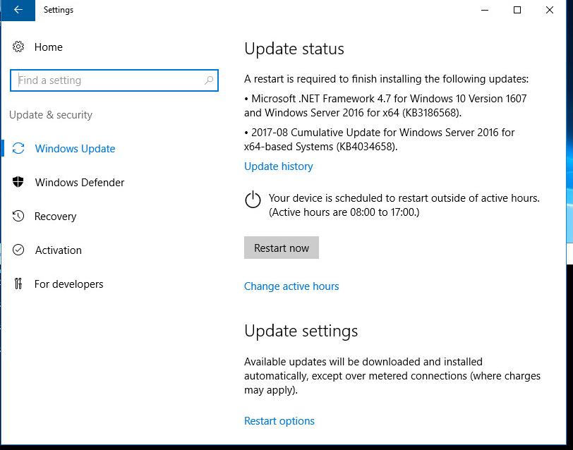 Server 2016 ignoring WSUS updates