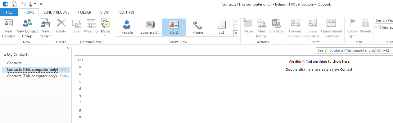 Outlook 2013 Contacts Gone!