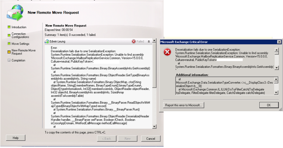 Exchange 2010 Hybrid Migrate Mailbox fail