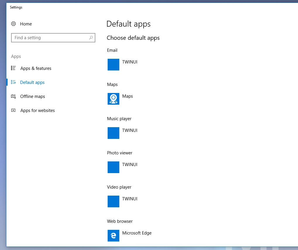 Win10 1703 - Apps default to TWINUI
