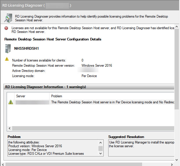 Windows Server 2016 RDS Licensing - Session host not seeing