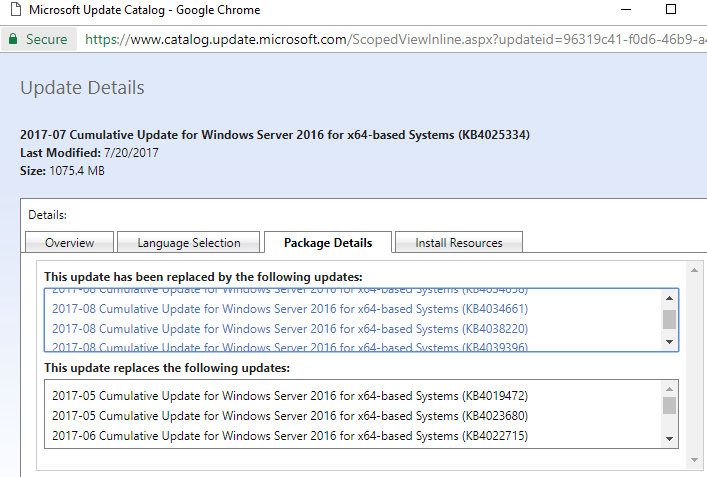 Why is KB4025334 not offered by WSUS