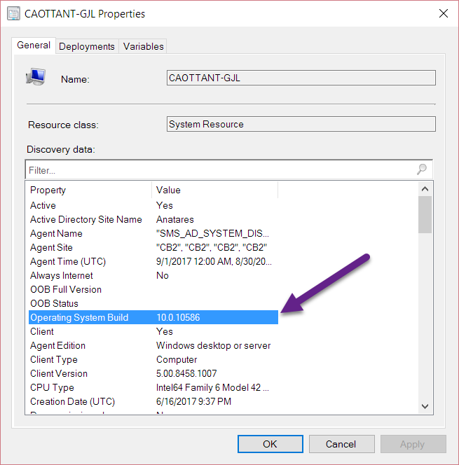 SCCM Report or Query to show full OS Build eg  15063 540