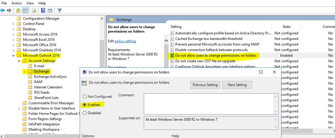 Outlook Default Permission