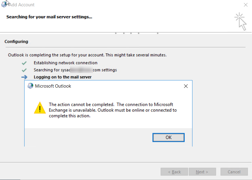 How to fix Outlook to The connection to Microsoft exchange is