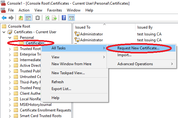 Add organization o attribute to user certificate template log on a client computer to request a new user certificate of that newly issued certificate template as above yadclub Images