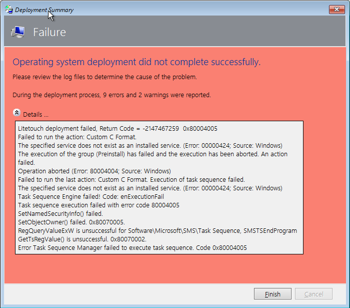 Error custom format drive