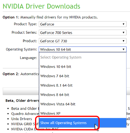 Can't install Nvidia Geforce GT 730 driver on Windows 7 Home