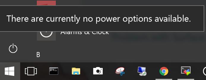 Surface 4 Pro no shutdown option