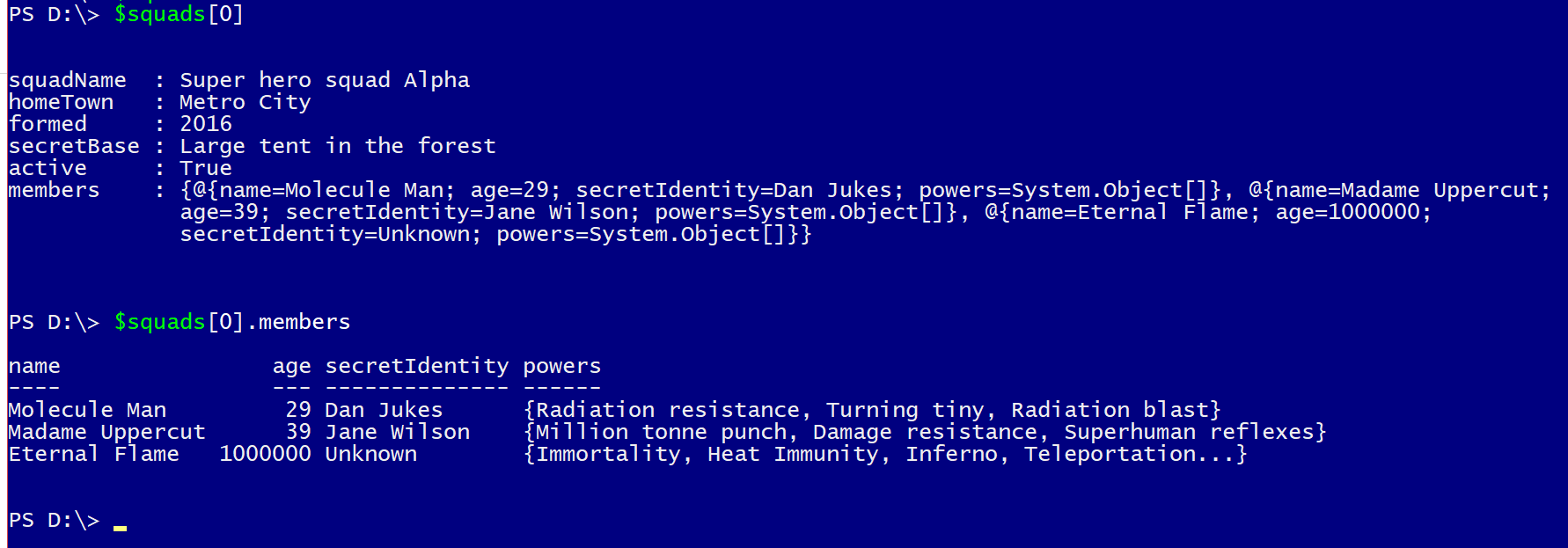 Looking for examples Powershell convertFrom-json where there are