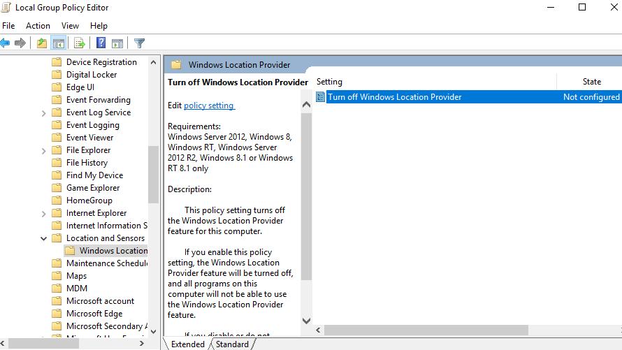 Disable wifi and IP based Location Provider Windows 10