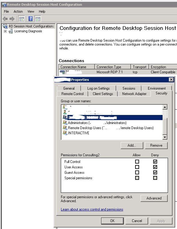 Restrict remote desktop access Win Serv 2016 RDS