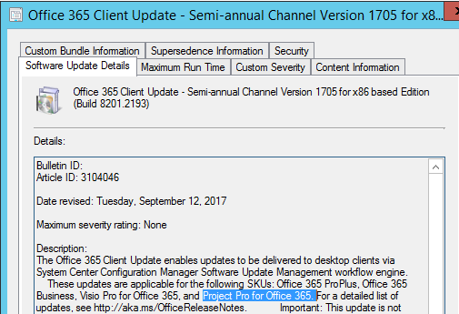 Office 365 Client Update - Semi-annual Channel Version 1705