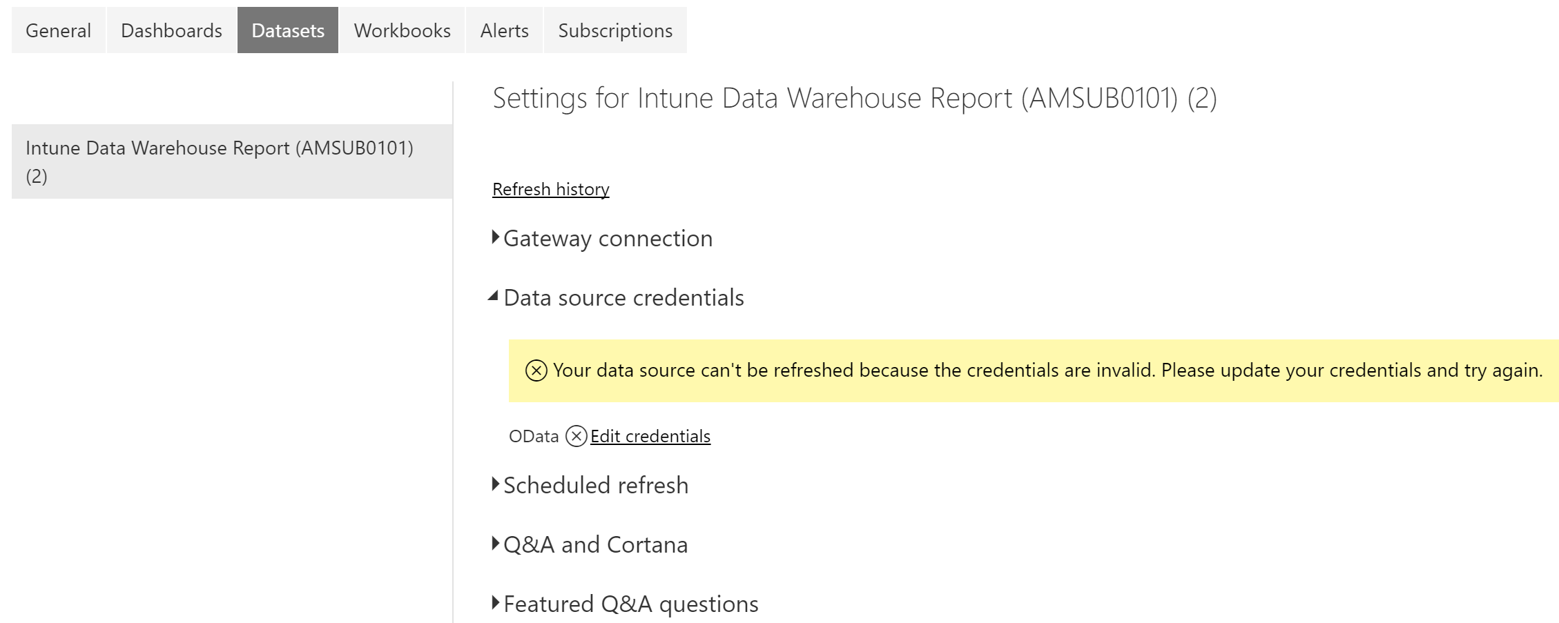 Problem with credentials when publishing intune data warehouse report xflitez Gallery