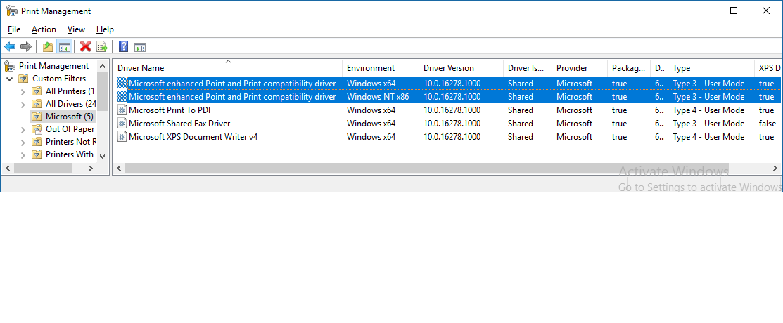 Point and print microsoft compatibility driver enhanced