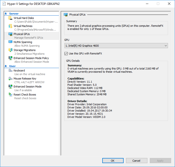 NVIDIA K1100M not available as RemoteFX Hyper-V GPU