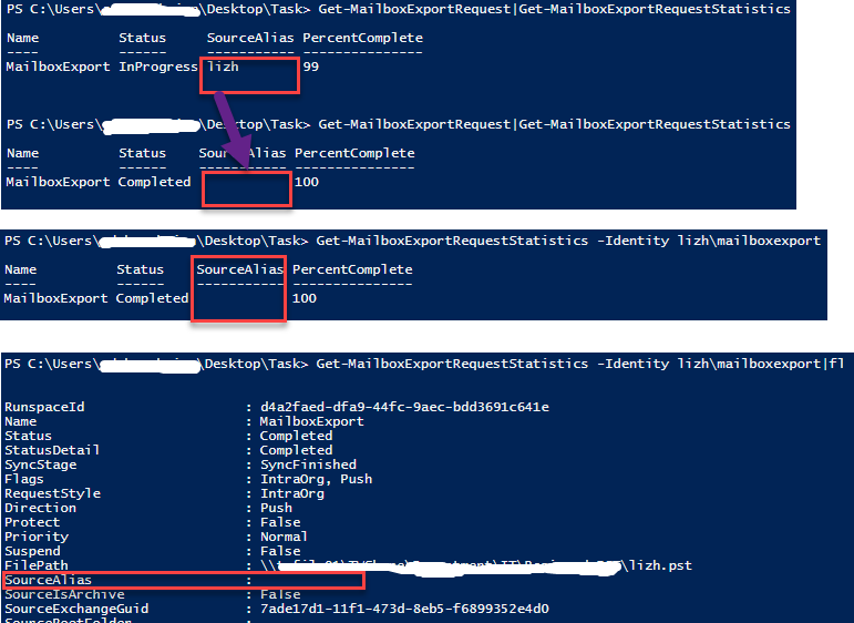 Get SourceAlias from Exchange powershell when exporting mailbox