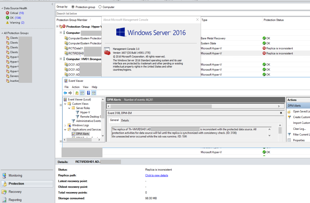 DPM 2016 UR 2 can't backup Hyper-V 2016 VM