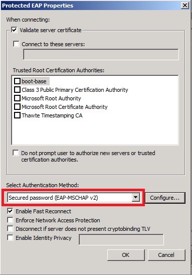 Nps certificates auto enrolment issues in group policy settings make sure the authentication method is secured password eap mschap v2 yadclub Images