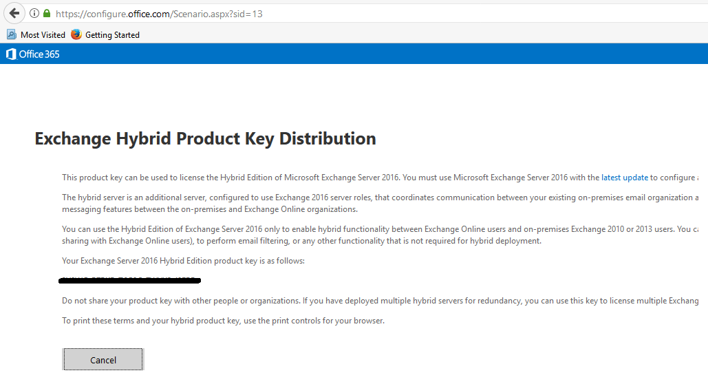 Exchange Hybrid Product Key Distribution