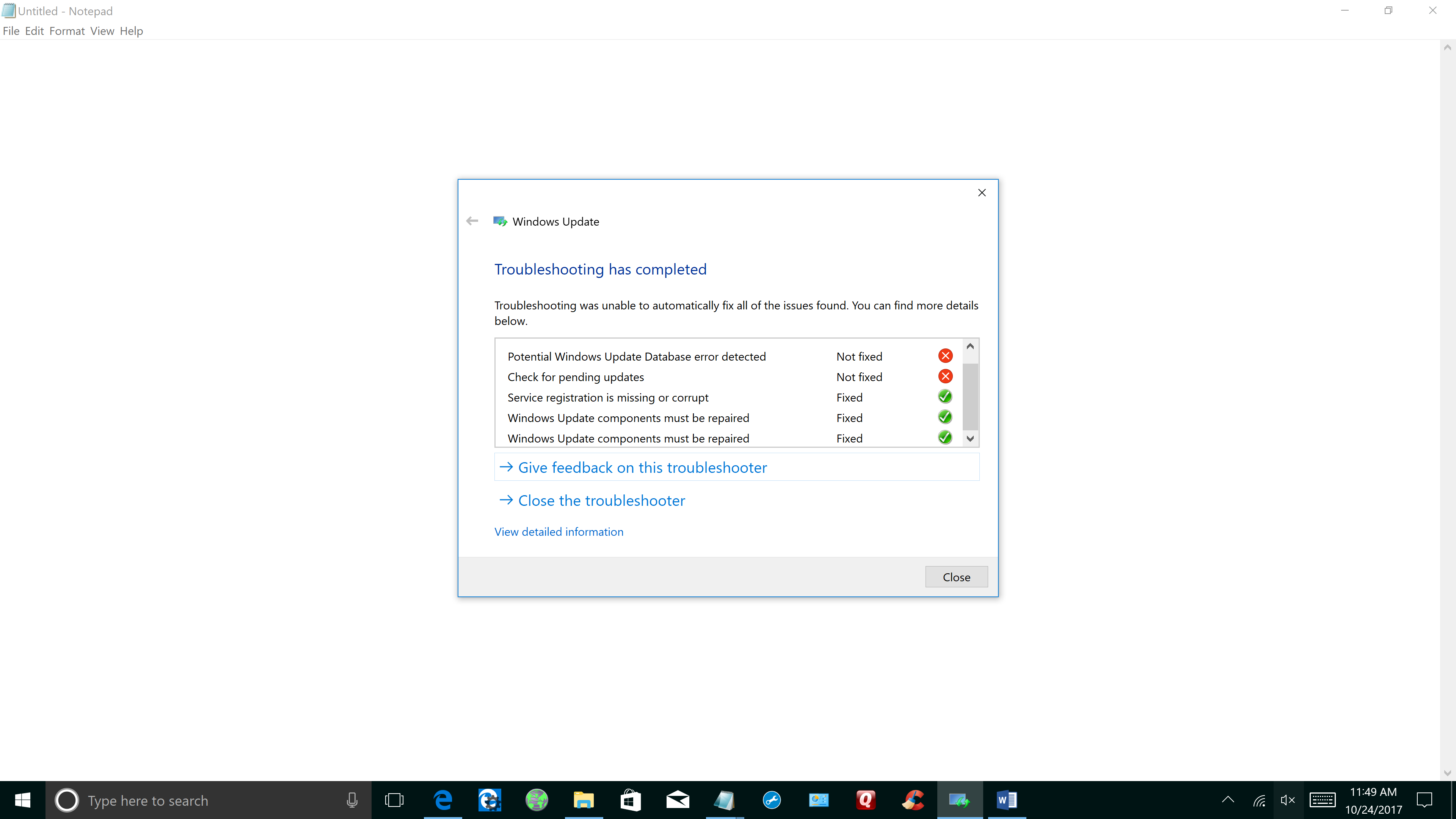 Windows update troubleshooter - Ran Windows Update Troubleshooter