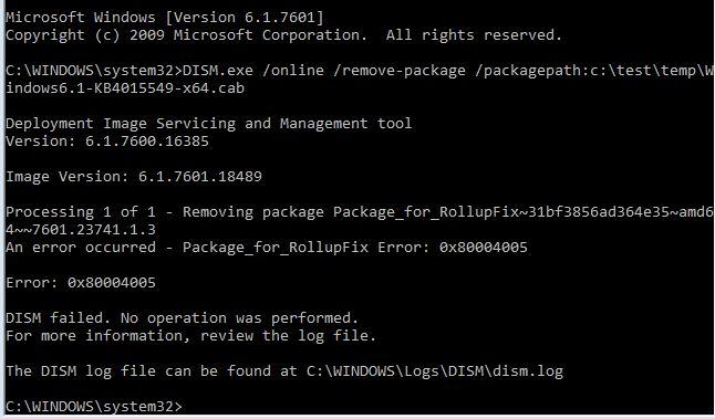 Windows 7 Rollups Fail - Error 0x80004005