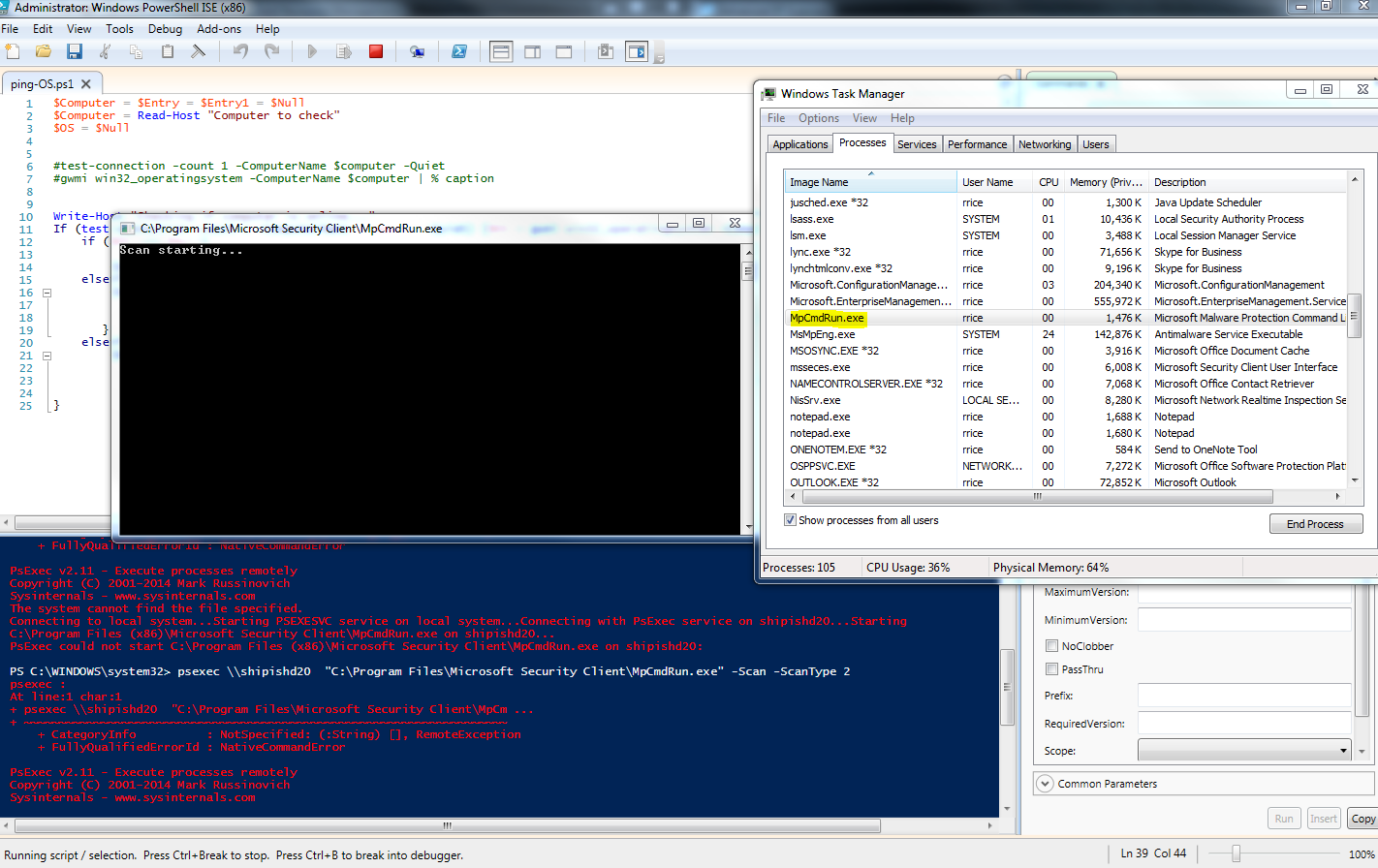Powershell and SCEP Remote Scanning