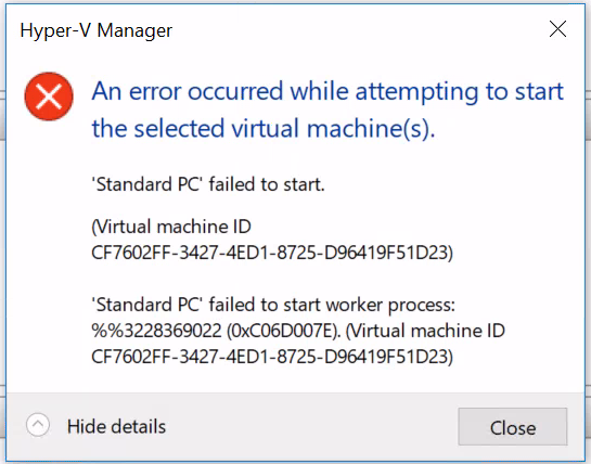Hyper V problem with installing and launching on Windows 10 1709