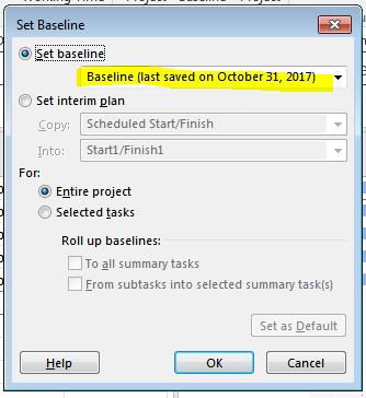 Baseline Saved Date