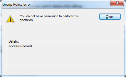 """Access is denied"""" error running Group Policy Results Wizard"""