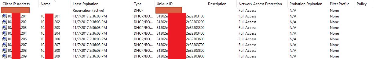 Screencap of strange DHCP reservations