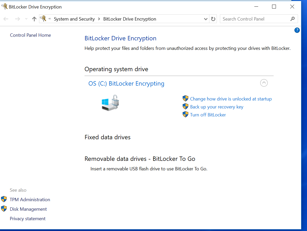 BitLocker turns on without a notice