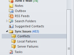Outlook 2010 conflict messages