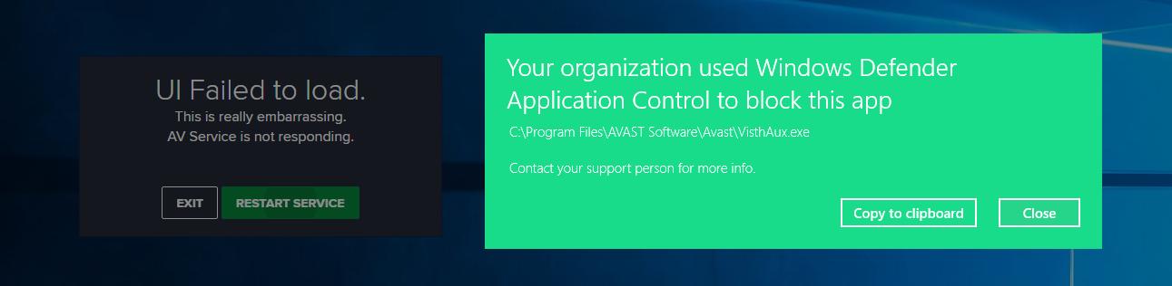 windows insider 17074 avast windows defender application control