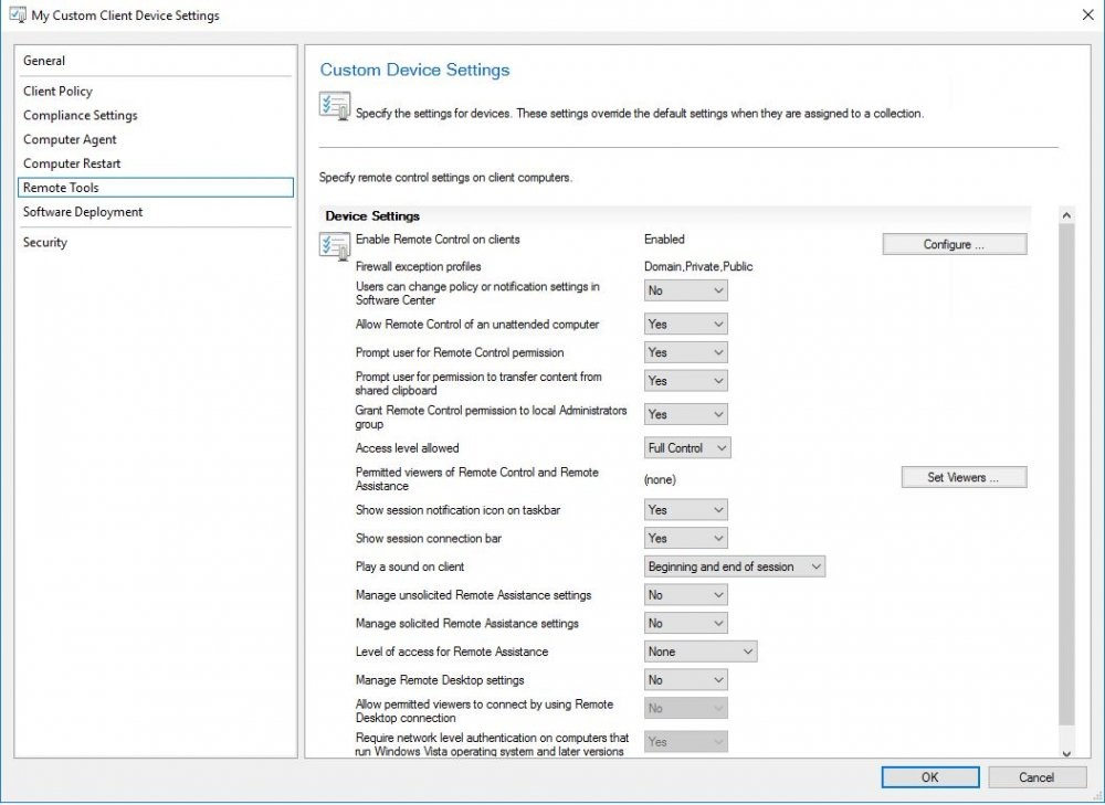 SCCM - Remote Control is grayed out