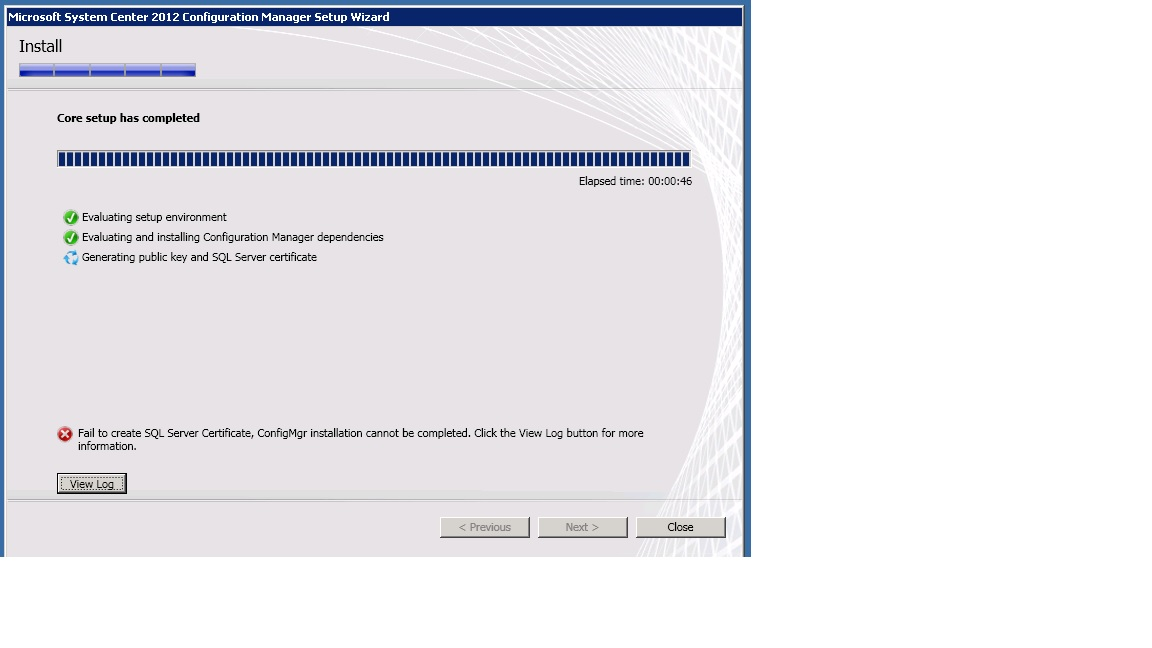 Failed To Create Sql Server Certificate