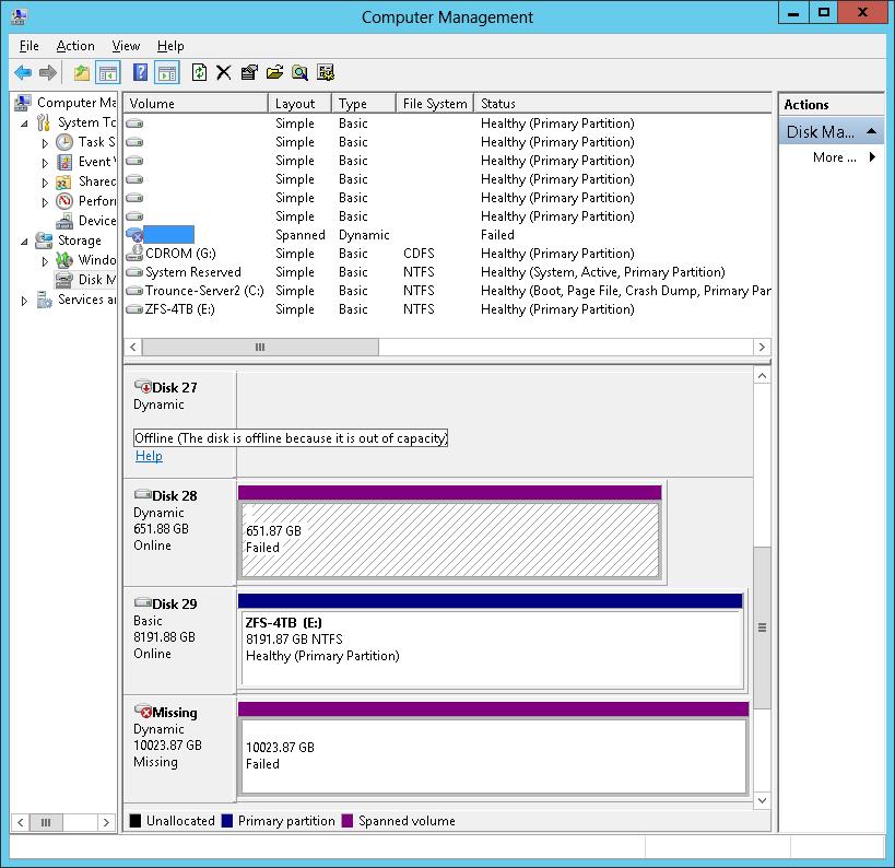 Storage Spaces: Virtual Disk taken offline during file copy