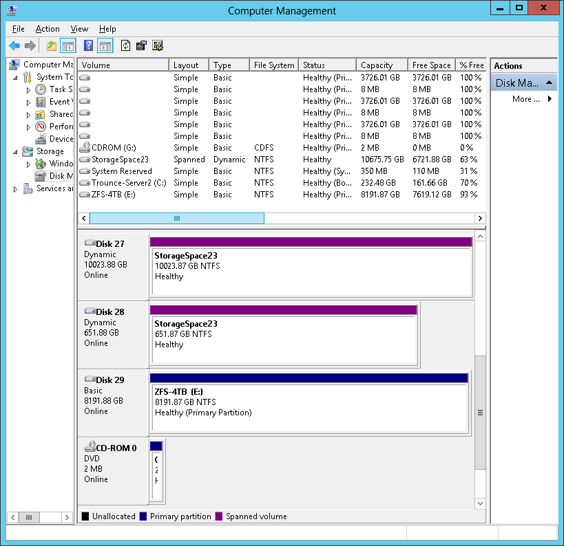Storage Spaces: Virtual Disk taken offline during file copy, marked