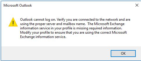 Image result for Outlook cannot log on. Verify you are connected to the network and are using the proper server and mailbox name. The Mailbox Exchange information server in your profile is missing required information. Modify your profile to ensure that you are using the correct Microsoft Exchange information service