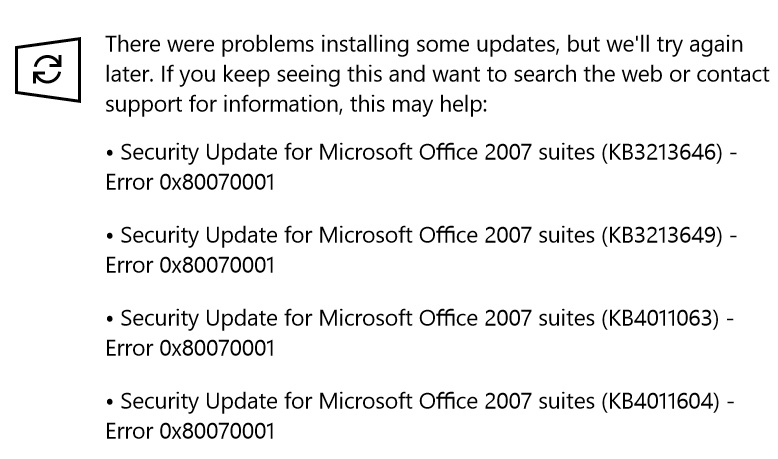windows update fails with error 0x80070001i installed kb3213641 and that seemed to work, but i still get (almost) the same errors in windows update after the install