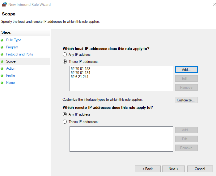 Add IP address and URL to Windows Defender Firewall Exclusion