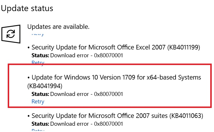 windows update fails with error 0x80070001however, i still get the windows update errors and the error seems to be related to any update, not just word 2007