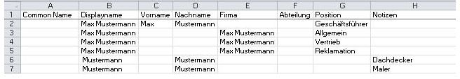 Muster CSV - Excel